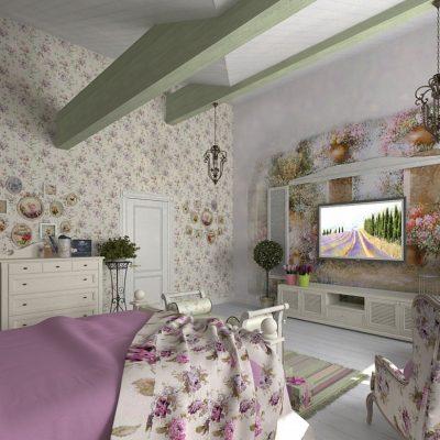 Прованс стиль обоев в интерьере спальной комнаты