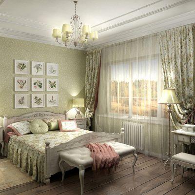 Интерьер спальной комнаты с обоями прованс