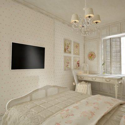 Плазма в спальне шебби