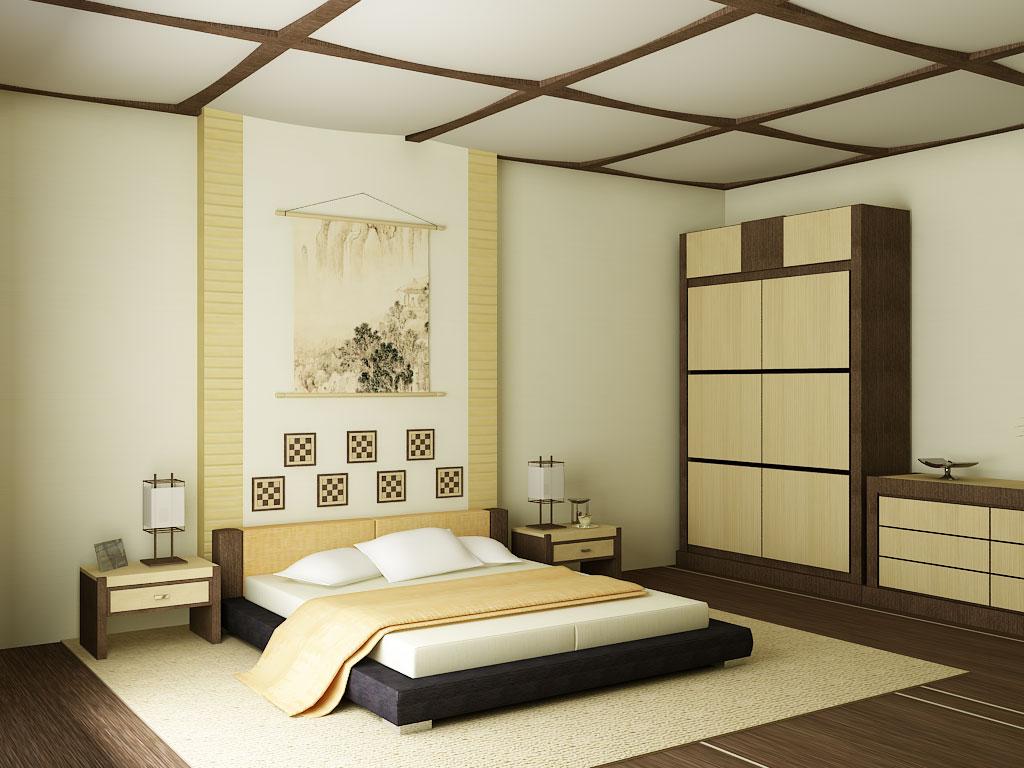 При оформлении спальни в японском стиле стены можно украсить традиционными гравюрами
