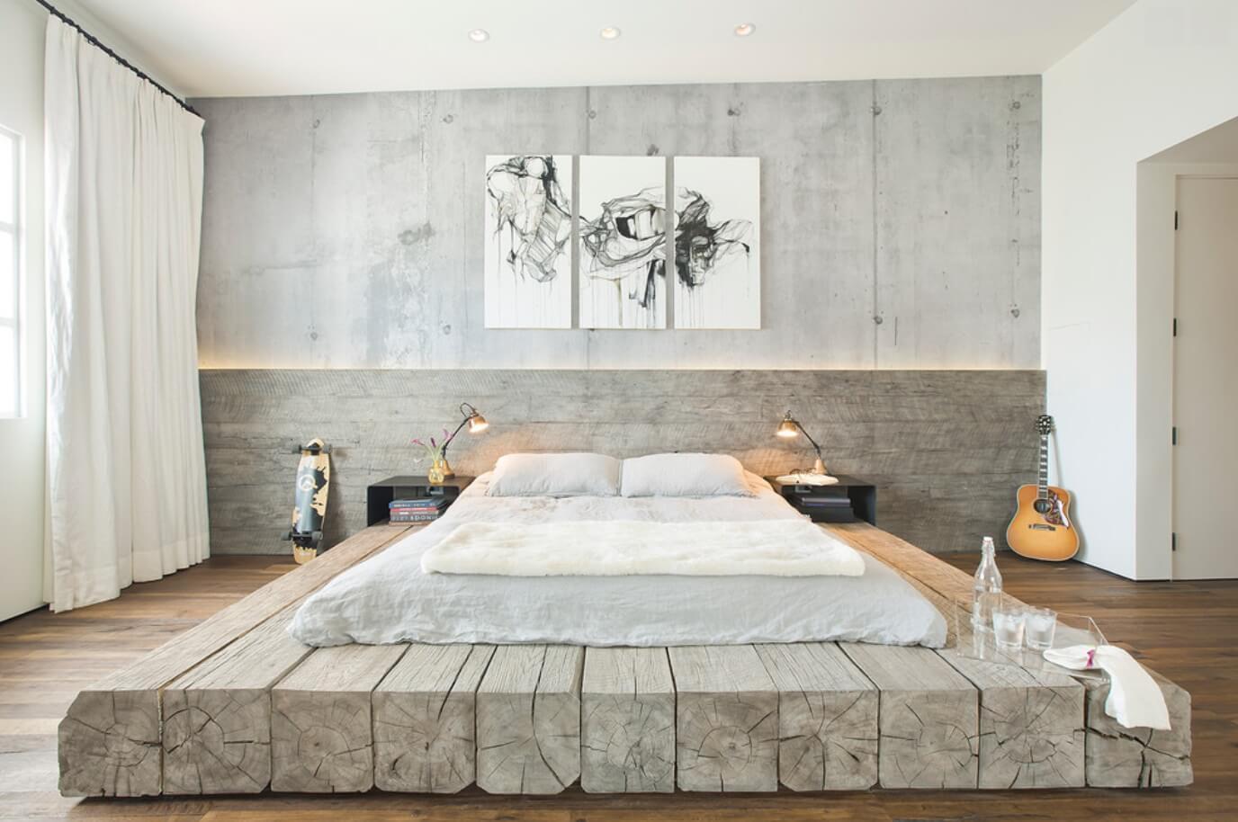 Оригинальной идеей станет установка подиума взамен каркаса кровати