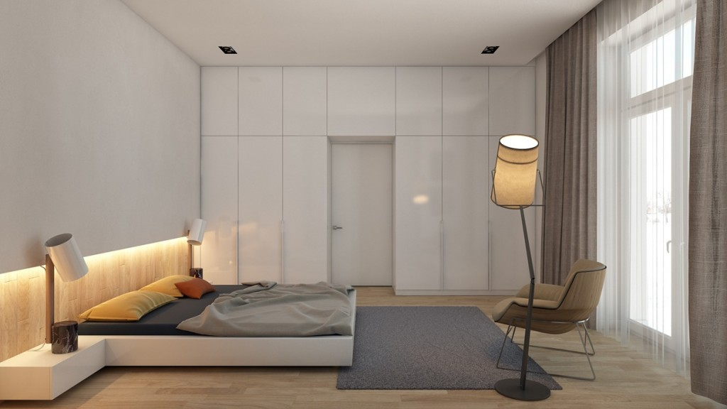 Идеальным решением для спальни минимализм станет шкаф-купе, который может быть как небольшим, так и занимать всю длину стены