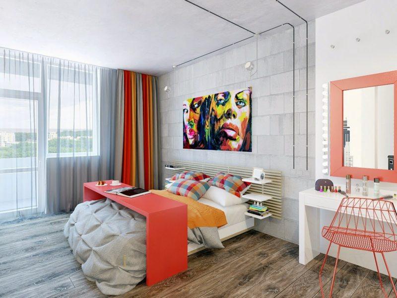 В умеренном количестве минимализм допускает яркие цвета в интерьере