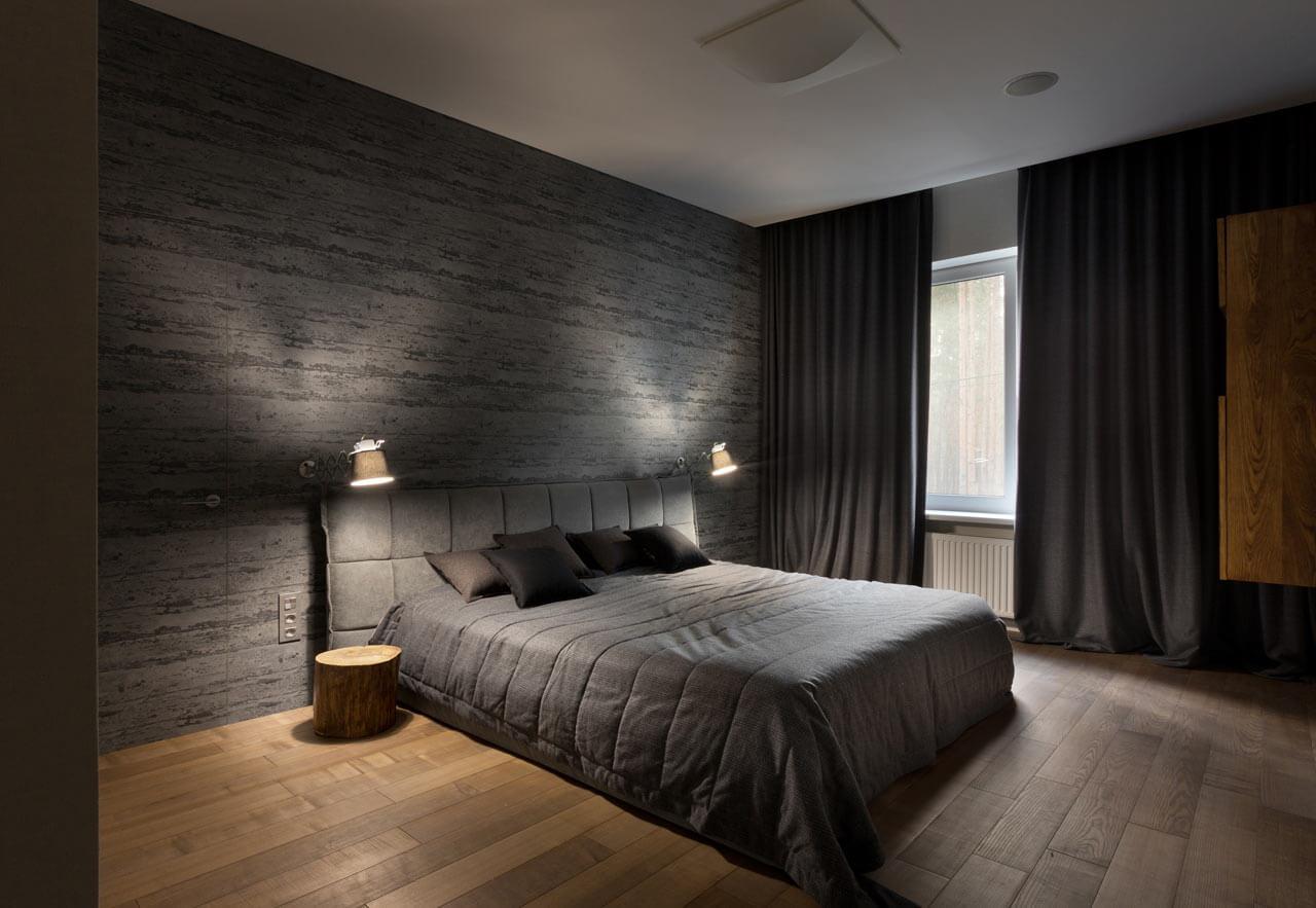 При выборе штор для спальни в стиле минимализм предпочтение отдают простой форме и однотонному материалу