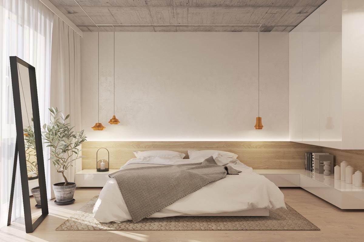 Аксессуары для спальни в стиле минимализм выглядят сдержанно, просто и незамысловато