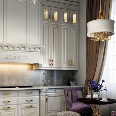 Шторы классика стиля на кухне на фото примере