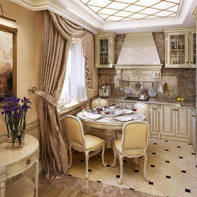 Дизайн штор на кухню в классическом стиле