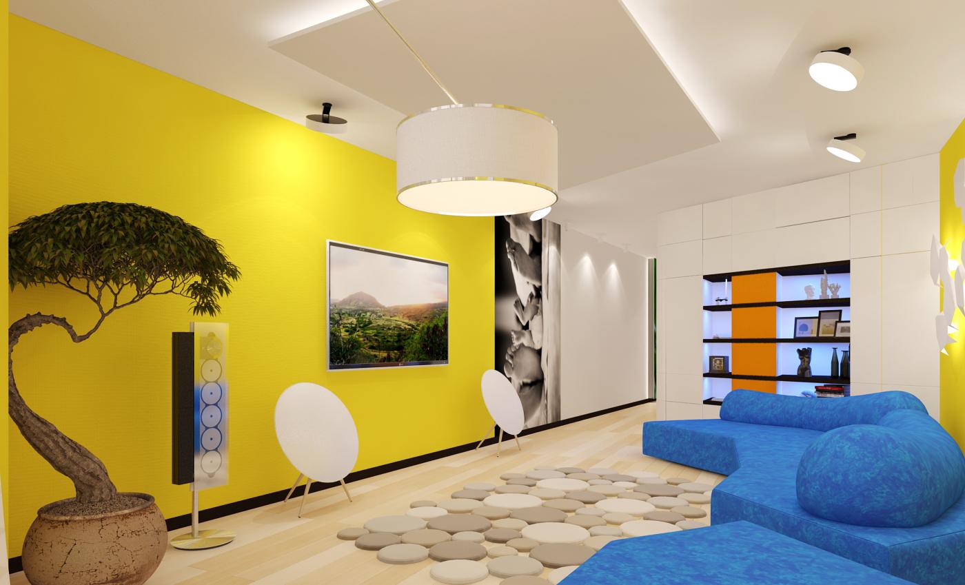 Желтый цвет стен в интерьере гостиной в стиле модерн