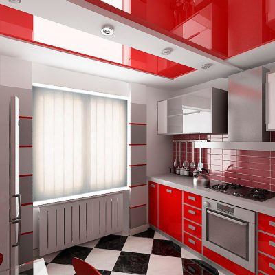 Красный потолок глянцевый
