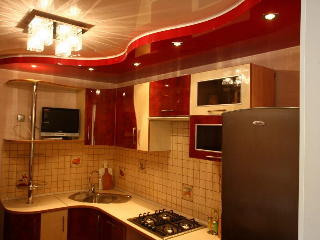 Ремонт потолков в кухне в картинках выглядит беднее