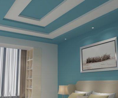 Крашеный потолок аквамарин