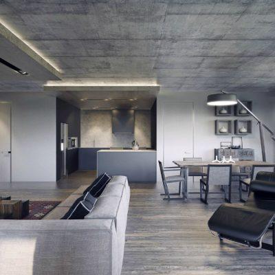 Лофт бетонный потолок