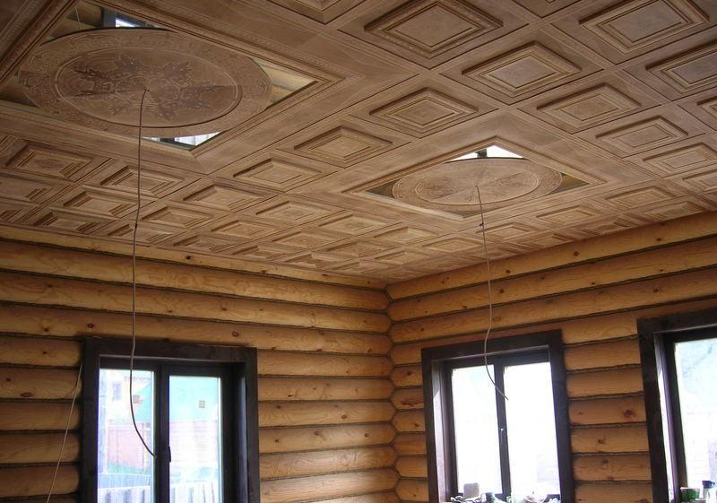 может быть потолок в деревянном доме фотографии составе