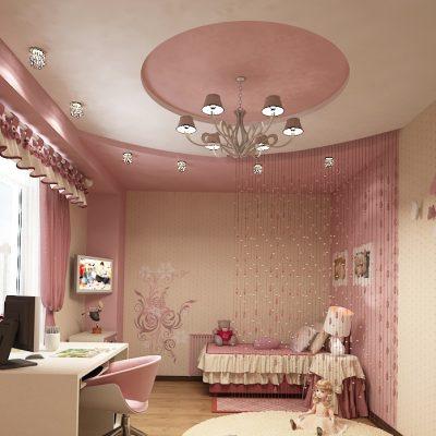 Розовый потолок многоуровнвый