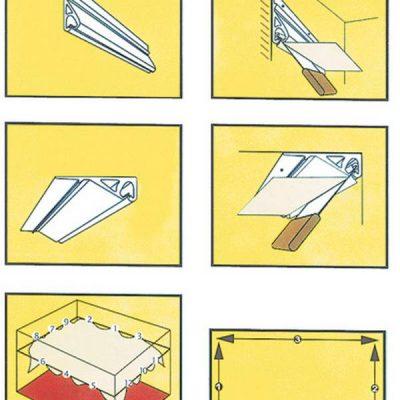 Натяжка потолка схема