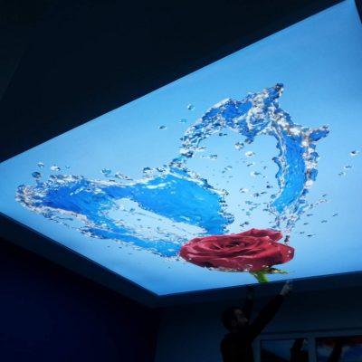 Натяжной потолок с арт узором