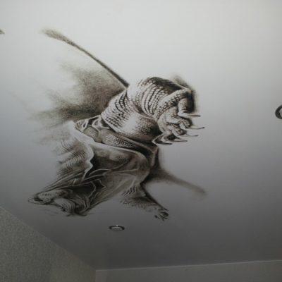 Рисунок на потолке чёрно-белый