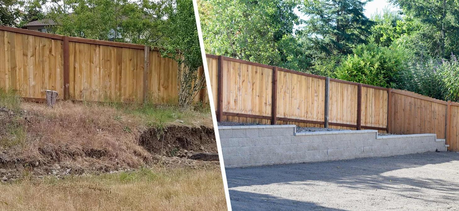 До и после установки подпорной стенки