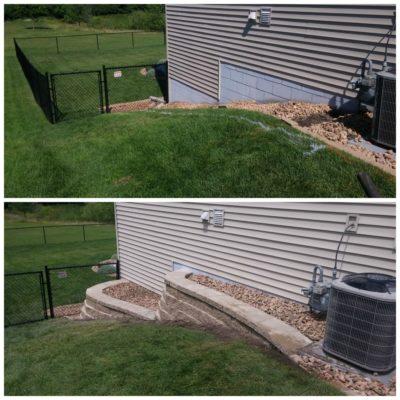 Подпорные стенки около дома до и после